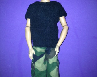 Ken doll clothes camouflage pants black t-shirt handmade