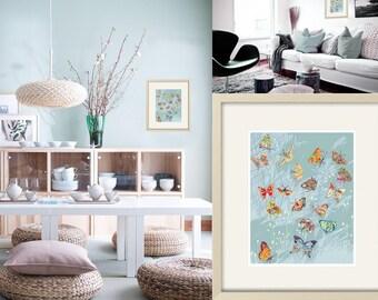 Schmetterling Kunstdruck abstrakte Kunst Schmetterling Wand Kunst Schmetterling Dekor moderne Kunst zeitgenössischen Dekor blau Art moderne Wohnkultur abstrakte Dekor