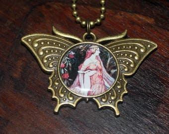 Deer Goddess Necklace, Whimsical Jewelry, Forest Animal, Mythology, Bronze Butterfly Pendant