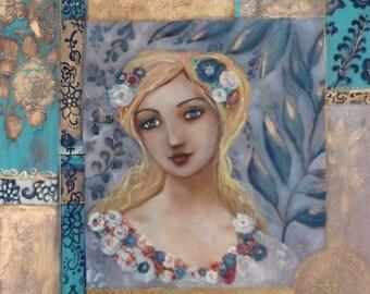 Romantic woman portrait, acrylic on canvas 50x50cm