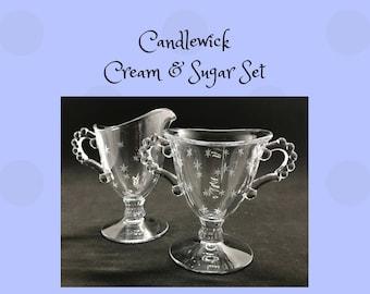 Vintage Imperial Candlewick Creamer & Sugar Bowl Starlight Cutting