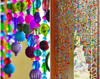 Beaded curtain, Hanging beads,  Bohemian Curtain, Boho doorway decor, Beaded Door Curtains, Hanging Door Beads, doorway bead, Door beads,
