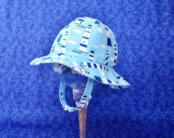 Baby Boy Sun Hat with Lighthouses Nautical Blue