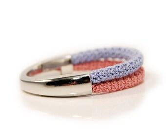 rose bracelet - rose blue - rope jewelry - pantone 2016 - pantone jewelry - summer bracelet - beach bracelet - crochet - MudenoMade