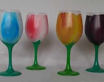 Hand Painted Tulip Wine Glass