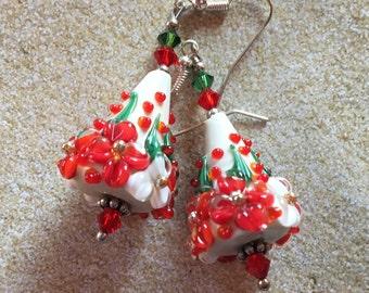 Christmas Jewelry, Holiday Jewelry, SRA Lampwork Earrings, Red & Green Earrings, Cone Earrings, Christmas Earrings, Holiday Earrings