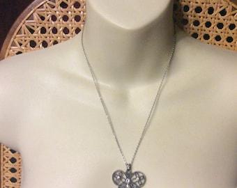 Vintage rhinestone butterfly pendant necklace.