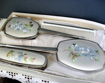 Vintage VANITY Set Boxed FOUR PIECE Dressing Table Set Embroidered Boudoir Set 1950s/60s Vintage Accessory Set Blue Floral Retro Hand Mirror