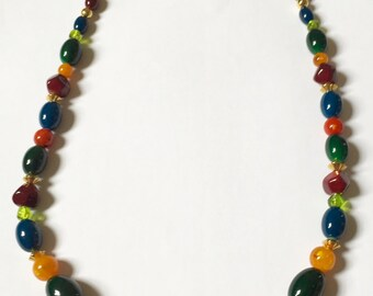 Vintage 1960s - Earth Tones Bead Necklace with S hook clasp