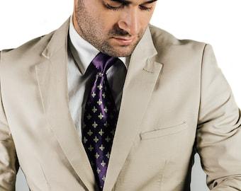 Fleur de Lis necktie. Purple and gold New Orleans inspired men's tie. Mardi Gras colors. French heraldry silkscreen print.