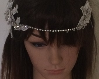 Gatsby inspired ivory lace and rhinstone headpiece