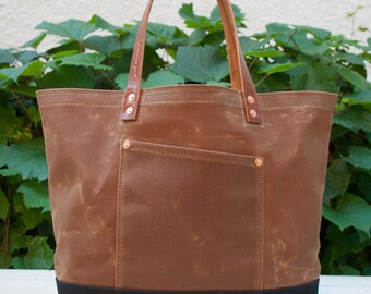 Waxed Canvas Market Tote Bag - FREE Standard Shipping in US - Brush Brown/Black - Leather Handles - Copper Rivets - Unisex - Made in USA