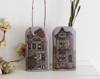 Vintage San Francisco Houses Pottery Vases Set of 2