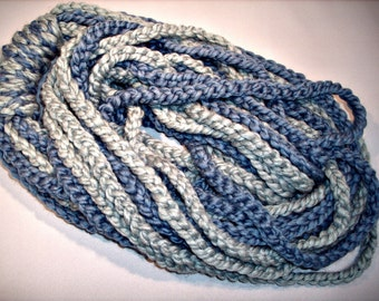 Trendy Strand or Spaghetti Infinity Scarf in Two Shades of Blue