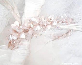 Handmade Side Tiara Flower & Crystal Rose Gold Blush Pink