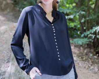 Scarlett Navy Blue Blouse
