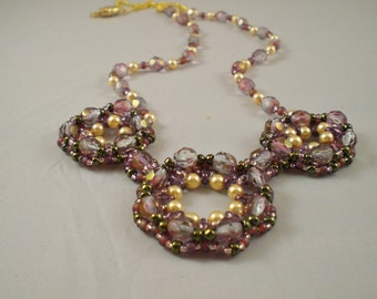 Three Medallion Spring Fling Necklace; Beadweaving; High Fashion