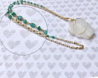 Large quartz wire wrapped pendant necklace, apatite rosary chain, silver chain