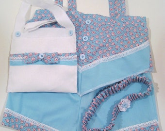 Light blue Girls Shorts, Shorts outfit Toddler 4 piece. Includes shorts, top, headband and a cute purse, shorts, kids shorts sets, children