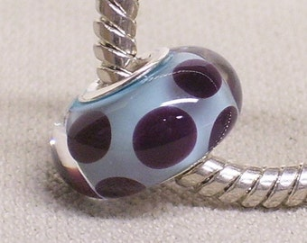 Large Hole Handmade Lampwork Bead Silver Cored Light Blue Core Bead with Clear and Floating Dots