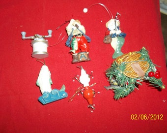 christmas fishing ornaments lot of 6