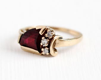 Sale - Vintage 1950 Ring - 10k Rosy Yellow Gold Created Ruby & White Spinel - Sz 4.75 Dark Red Fancy Cut Triangular Stone Retro Fine Jewelry