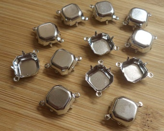 12mm square octagon silvertone plated closed back 2 ring connector settings 12 pc lot l