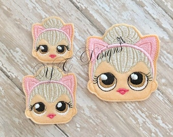 Giggle Doll Feltie Giggle Doll Queen Kitty Head Feltie Embroidery File