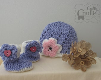 Purple Baby Hat and Booties