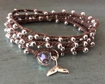 Bohemian Sterling Silver Wrap Bracelet -  Sparkle Galore- Boho crochet bracelet, necklace, sterling silver beads