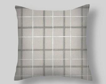 Gray Pillow, Gray Plaid Pillow Cover, Throw Pillow, Pillow Cover, Plaid Pillow, Check Pillow, Plaid. Euro Sham Farmhouse. Cushion. ALL Sizes