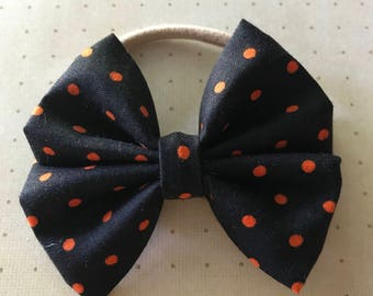Black/Orange PolkaDot Halloween Bow Headbands & Clips