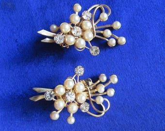 Vintage 1950s Faux pearl and rhinestone earrings