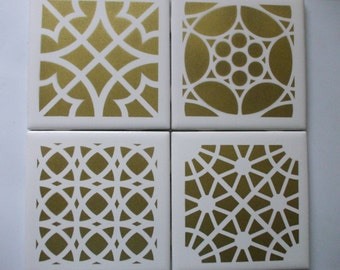 Moroccan Tile Coasters - Gold, Hostess Gift,Wine Coasters, Tile Coasters, Ceramic Coasters, Drink Coasters, Barware