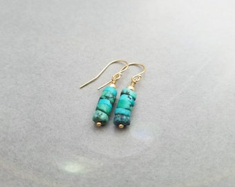 14k gold filled and Turquoise earrings, leverback or french wire, also available in 14k rose gold filled and sterling silver