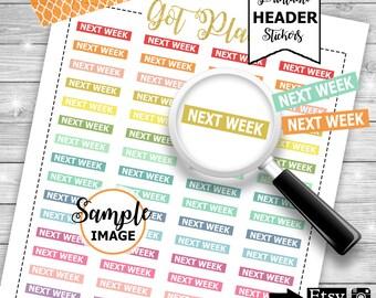 Next Week Headers, Functional Planner Stickers, Printable Label Headers, Label Stickers, Next Week Label Stickers, Stickers For Planners