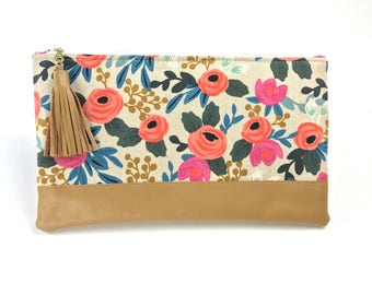 Rifle Paper Co Clutch, Bridesmaid Gifts, Bridal Purse, Wedding gift set, Coral Leather Tassel Bag, Floral Linen Clutch Set