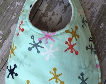 Baby bibs/ Blue and multicolor jacks baby bib/ Gender neutral baby bibs/Soft minky baby bib
