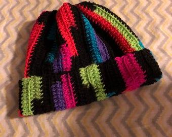 Messy bun handmade crochet neon beanie hat