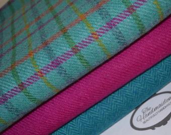 HARRIS TWEED FABRIC 100% pure virgin wool with authenticity labels (3 Piece Bundle 50cm by 36.5cm) Pink turquoise tartan herringbone