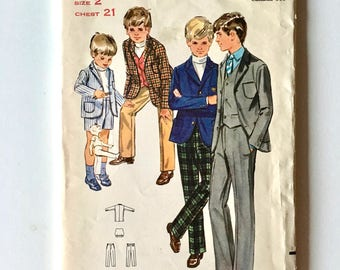 Vintage Sewing Pattern Toddler 60's Partially Uncut, Butterick 5411, Jacket, Vest, Pants, Shorts (2T)