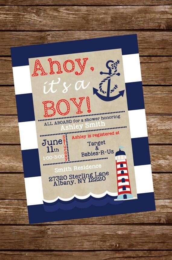 Nautical Baby Shower Invitation Nautical Baby Boy Shower