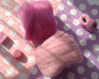 Needle felting wool, wool fibre, 25 grams, 2 Colours, Soft & fine Merino, wool tops,