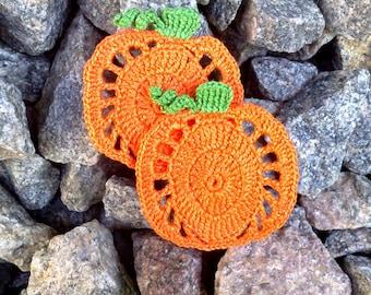 crochet pumpkins applique 2pcs Pumpkin Embellishment Halloween appliques