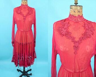 "1920s sheer dress | AS IS red feminine long sleeve high collar dress | vintage 20s dress | W 24"""