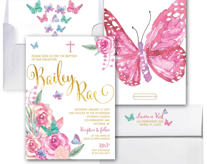 Butterfly Baptism Invitation // Butterflies // Holy Communion // Religious // Butterfly // Floral // Watercolor // VICTORIA COLLECTION