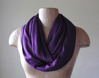 EGGPLANT Infinity Scarf, Purple Circle Scarf, Lightweight Heliotrope Jersey Scarf, Loop Scarf, Eternity Scarf
