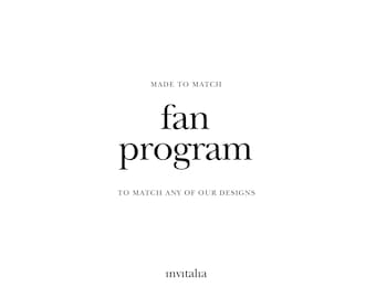 Printable program fan, Made to Match program paddle, Choose any of shop's designs