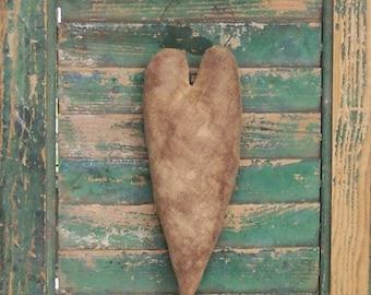 Grungy Heart Ornament, Rustic Heart Hanger, Primitive Heart  Farmhouse Style Hanging Heart, Zakka Heart - READY TO SHIP!