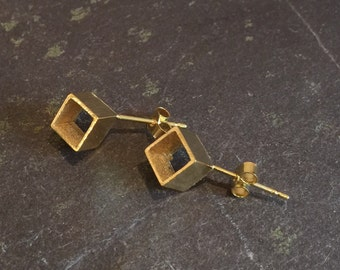 Handmade Silver & 22ct yellow gold plated corner cube studs / square earrings